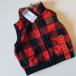 NWT Carter's red buffalo fleece vest